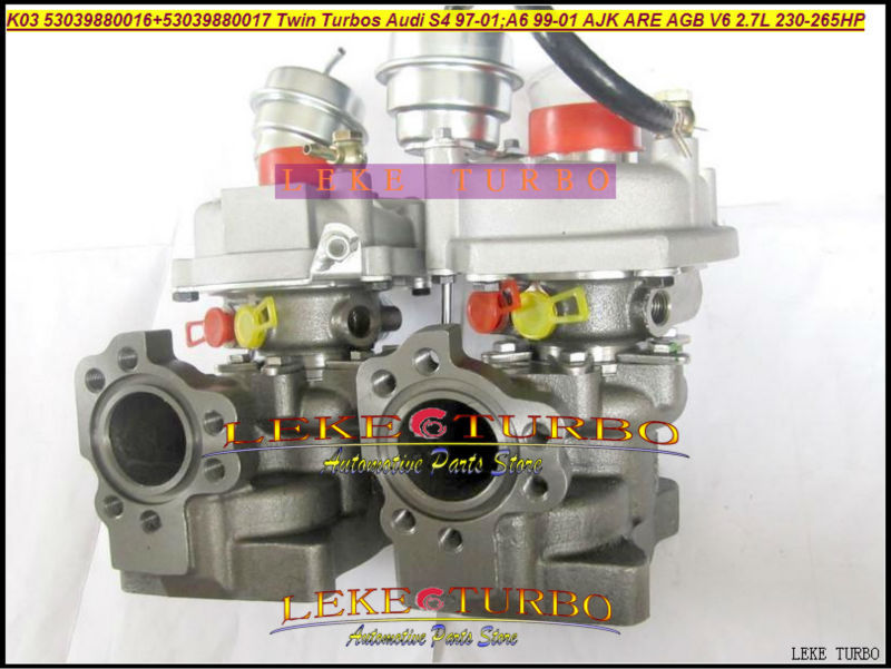 K03 53039880016+53039880017 Twin Turbos Turbocharger For AUDI S4 97-01 A6 99-01 AJK ARE AZB AGB V6 2.7L 265HP (5)