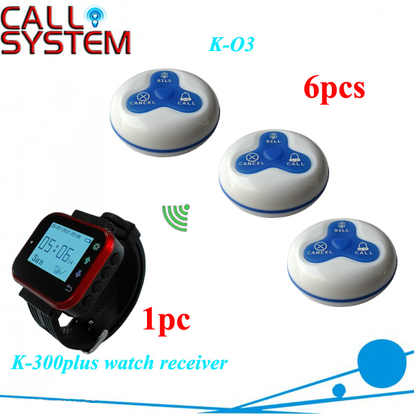 Watch pager wireless waiter call system for restaurant 1 wrist receiver 6 table buzzer one set wireless system waiter caller bell service 1 watch wrist pager with 5pcs table customer button ce passed