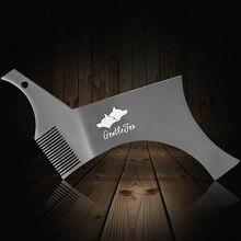 Outil de peigne tout en un en acier inoxydable pour la barbe et le style 100% pochoir de qualité supérieure pour le rasage de la barbe des hommes