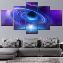 Purple Landscape Planet Milky Way Space Painting 5 Piece Modular Style Picture Canvas Print Type Home Decor Wall Poster