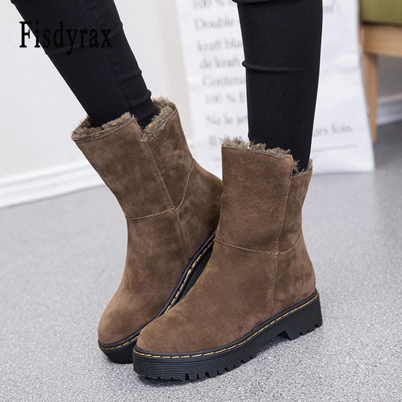 Fisdyrax Bota Feminina Women Winter Boots Short plush ladies Ankle Boots For women Shoes warm snow boots black botas mujer