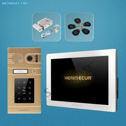 HOMSECUR 4 Wire Hands-free AHD Video Door Phone Intercom System RFID Card Access BC071HD-G+BM714HD-S