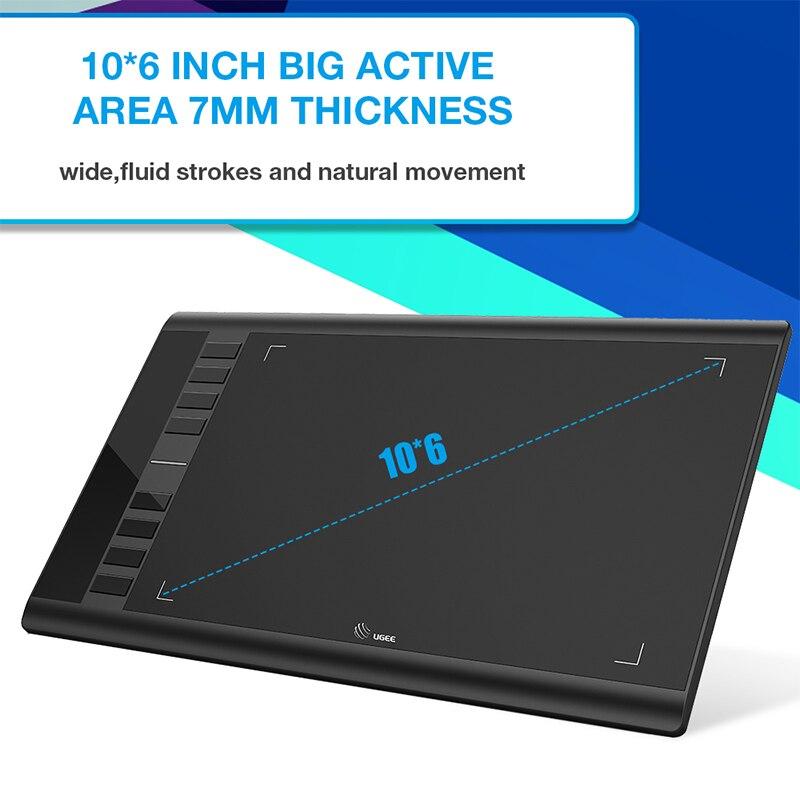 Ugee M708 V2 tablette graphique numérique pour dessin 10x6 pouces tablette de peinture 8192 niveau tablette graphique avec stylo sans batterie - 3