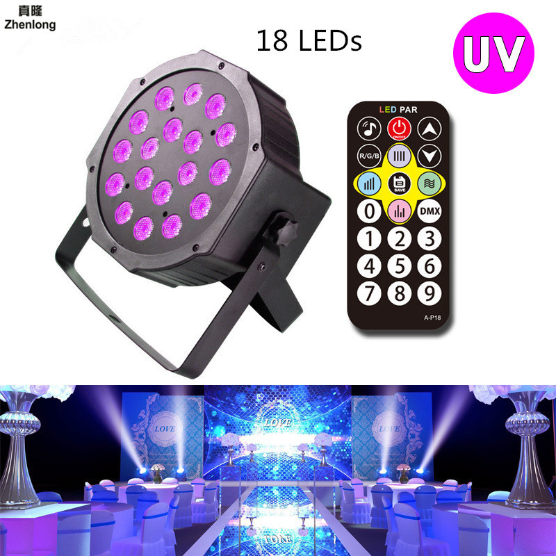 High Power 18W 18LEDs Sound Active UV Led Stage Par Light Ultraviolet Led Spotligh Lamp for Disco DJ Projector Machine Party 36w uv led stage light black light par light ultraviolet led spotligh lamp with dmx512 for disco dj club show party decoration