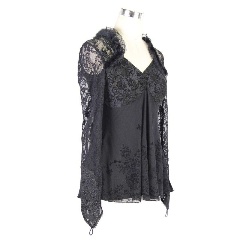 Женская открытая кружевная рубашка 2019 новая сексуальная глубокий v образный вырез с рукавом, кружевная вышивка, эластичная талия, 100% хлопок,... - 5
