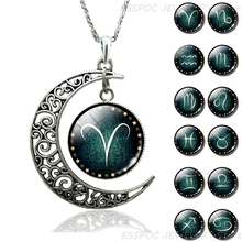 12 Constellation Crescent Moon Necklace Pendant Zodiac Signs Birthday Gift Divination Destiny Jewelry Dropshipping