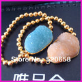 6pcs NEW style !Freedom shape natural Stone blue Druzy Bracelet, Druzy gold beads bracelet with fashion blue and peach color