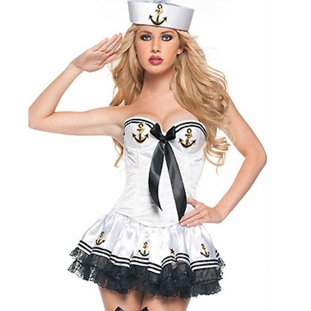 934de9164 Fantasia Marinheira Branco de Alta Qualidade Adulto Feminino Sexy Sailor  Girl Costume Mulheres Traje Do Mar