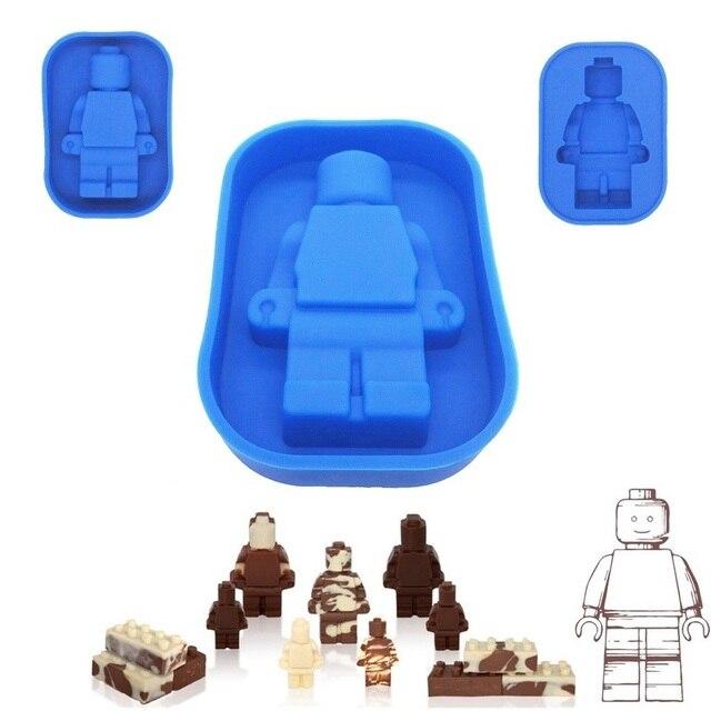 Lego molde de silicona Mini figura Robot herramientas para moldear pasteles agujeros Lego bandeja con molde para cubitos de hielo pastel de Chocolate gelatina Fondant moldes