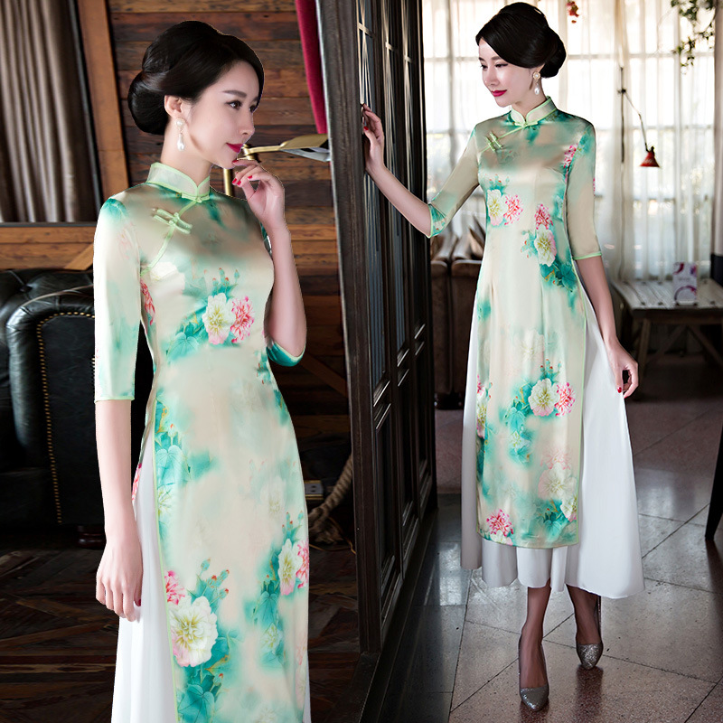 New Arrival Vintage Chinese Traditional Dress Qipao Long Cheongsam Chinese Oriental Dresses Robe Modern Cheongsam