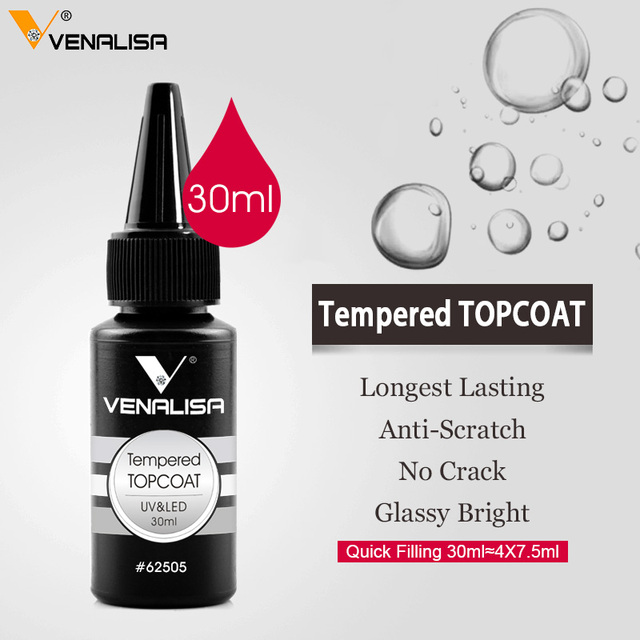 Venalisa Brand 30ml Super Quality Nail Art Soak Off UV/LED No Wipe Top Coat Base Coat Without Sticky Layer Matt Tempered TopCoat 4