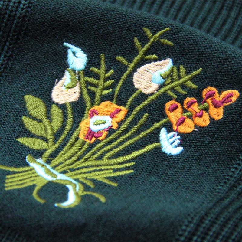 Laine Col Pa82060 À Green Vert Fleur Robes Larci Nouveau Tricoter Coton Stand Femmes 2018 Boho Broderie YSTwS