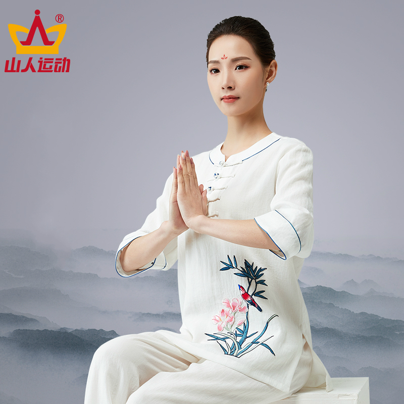 2018 New Cotton Short Sleeve Tai Chi Serve Summer Woman Middle Age Group Taiji Boxing Performance Match Serve Summer Embroidery
