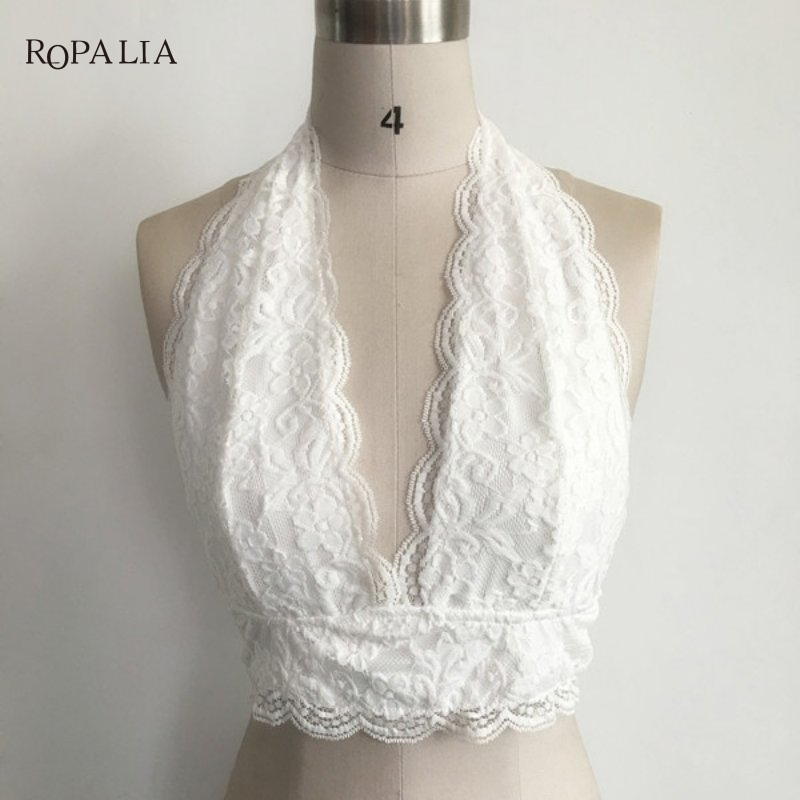 ROPALIA Women Bra Sexy Floral Sheer Lace Bra bustier Tank Tops Seamless Black Bralette Wireless Crossing Bandage For Women
