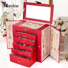 Mordoa High-end Rings Jewelry Box Delicate Showcase High-end Jewelry Pendant Earrings Collecting Storage Box