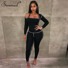 цена Simenual Fitness Sporty Active Wear Matching Sets Women Casual Workout Two Piece Outfits Long Sleeve Top And Leggings Sets Black