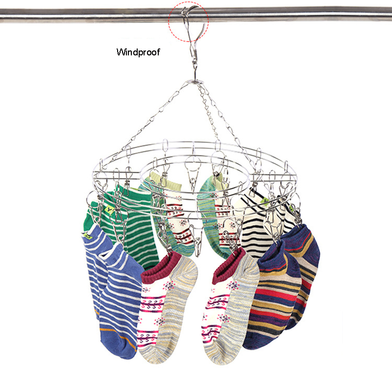 1PC Stainless Steel Hanging Dryer 20 Clips Clothes Hanger Sock Organizer Drying Rack Windproof Clothes Pegs 35.5cm dia.