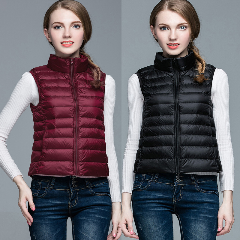 Winter   Down     Coats   Vests Women 2018 New Hot Fashion Female Casual Simple Solid Color Zipper Stand Collar Sleeveless Jackets   Coats