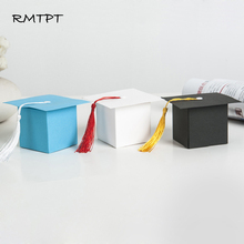 RMTPT 50pcs/lot Doctorial hat Style Gift Box Graduation Party Decoration Candy Favor Boxes bags wrapping supplies