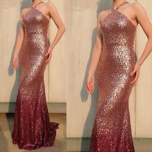 evening dresses gowns 2019 halter neckline bling bling sequins mermaid sparkly prom dresses arabic new свадебное платье emmanuel rd438 sparkly bling