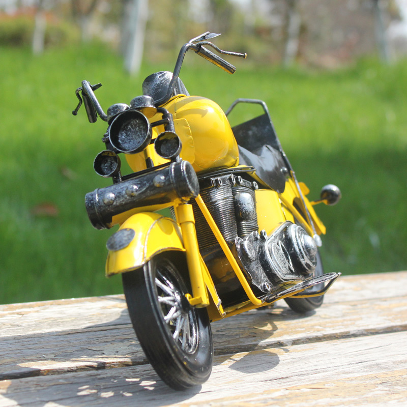 Vintage Classic Harley Motorcycle Model Creative Gift Photo Props Retro Motor Figurine Wrought Metal Crafts Home Decoration