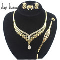 African Bridal Exaggerate Austrian Crystal Necklace Earring Bracelet Ring For Women Party Wedding Bridal Fine Gold Jewelry Sets