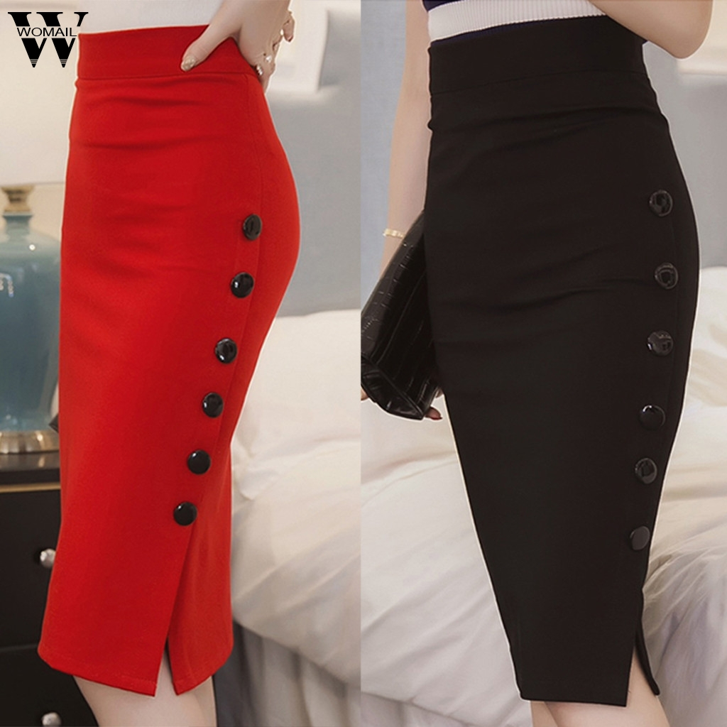 Womail Skirt Women Summer Sexy Casual Pencil Skirt Ladies High Waisted Button Office Skirt Multiple Size NEW  2020  M28