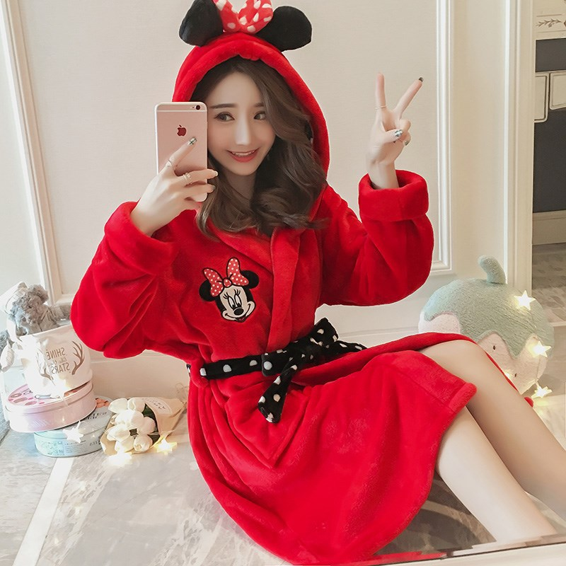 Winter Women Red Robes Sweet Girls Nightgowns Coral Velvet Bathrobe  Cartoon Pajamas Bath Flannel Warm Robe Sleepwear Homewear