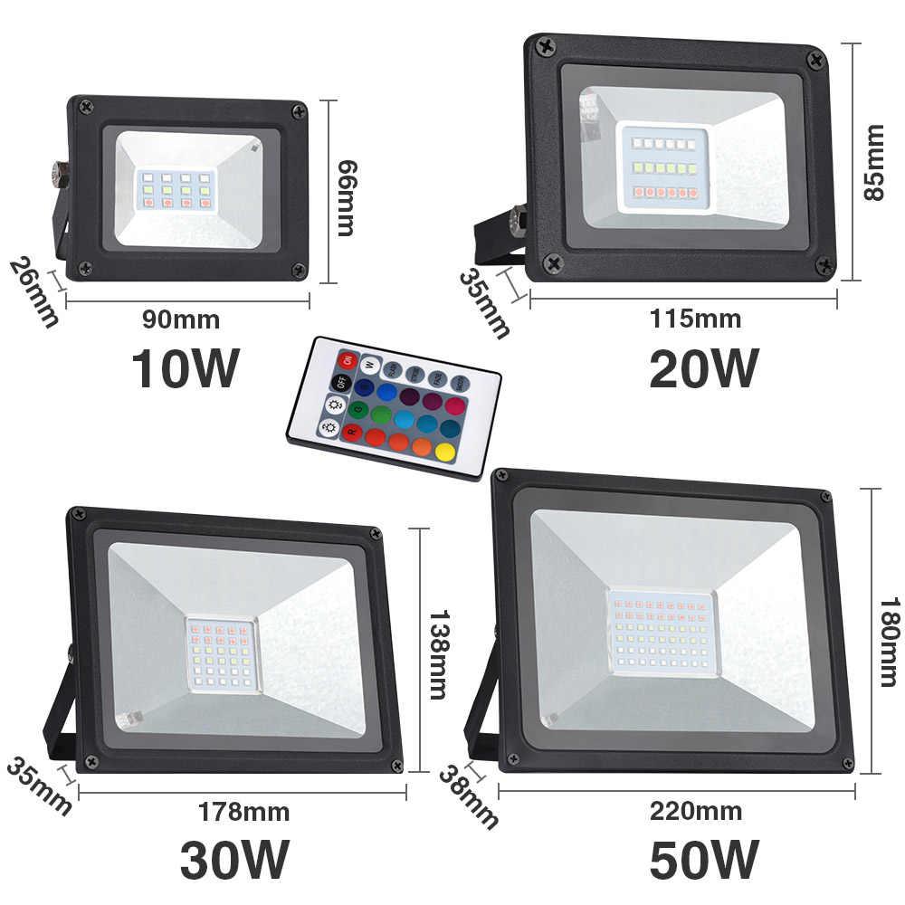 Led Spotlight Outdoor RGB Flood Light Color Changing Led Reflector 20W 30W 50W Waterproof Outdoor Floodlight Garden10W 220V
