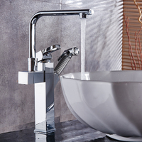 Modern Brushed Nickel/polished Cold And Hot Faucet Pull Type Basin Sitting Chrome Brass Washbasin Expansion Pedestal Basin Tap
