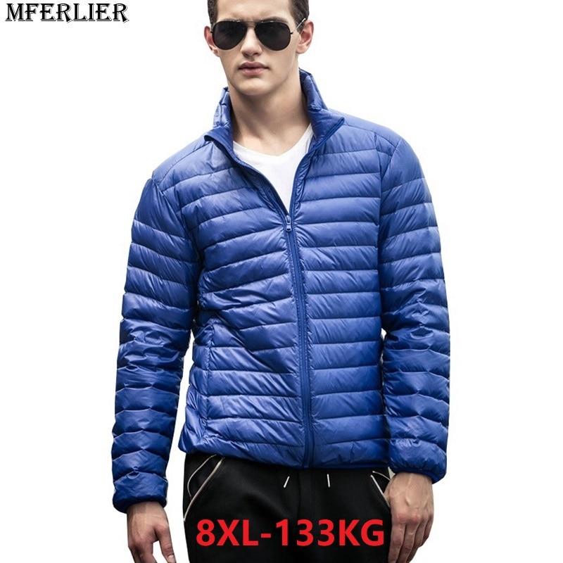 MFERLIER autumn plus size Men   Parkas   8XL thin long sleeve large size down Jackets 6XL 7XL Stand Collar casual duck Down   parka