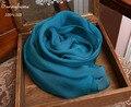 Люксовый бренд шарфы 2016 100% Шелк Синий Длинный шарф Ювелирные Изделия тартан одеяло мягкие шелковые шарфы Зима Теплее джерси хиджабах