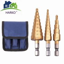 3pcs HSS Steel Titanium Step Drill Bits 3-12mm 4-12mm 4-20mm Step Cone Cutting Tools Steel Woodworking Wood Metal Drilling Set