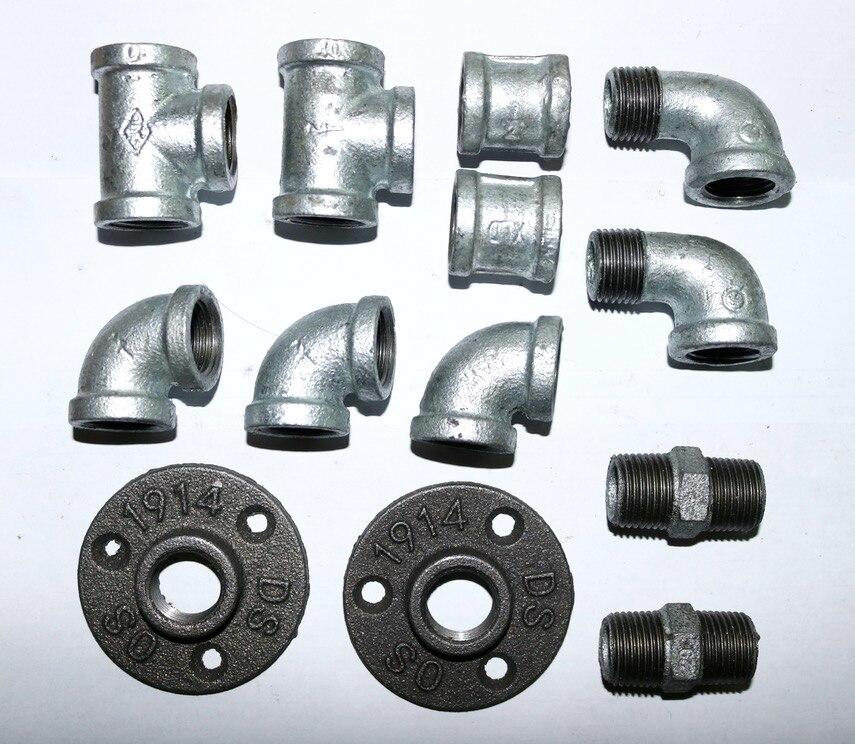 (DN15 tuyau ID: 20mm) Style LOFT bricolage tuyau industriel bride Base meubles accessoires mur Rail crochet étagères pièces connecteur