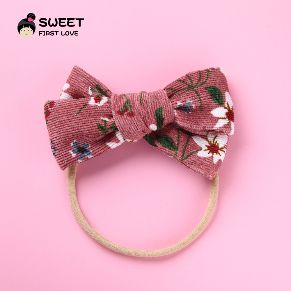 Lovely Flower Fabric Bow Baby Headband, Bowknot Elastic Cute Floral Hair Band For Girl Children, Soft Headwear Hair Accessories