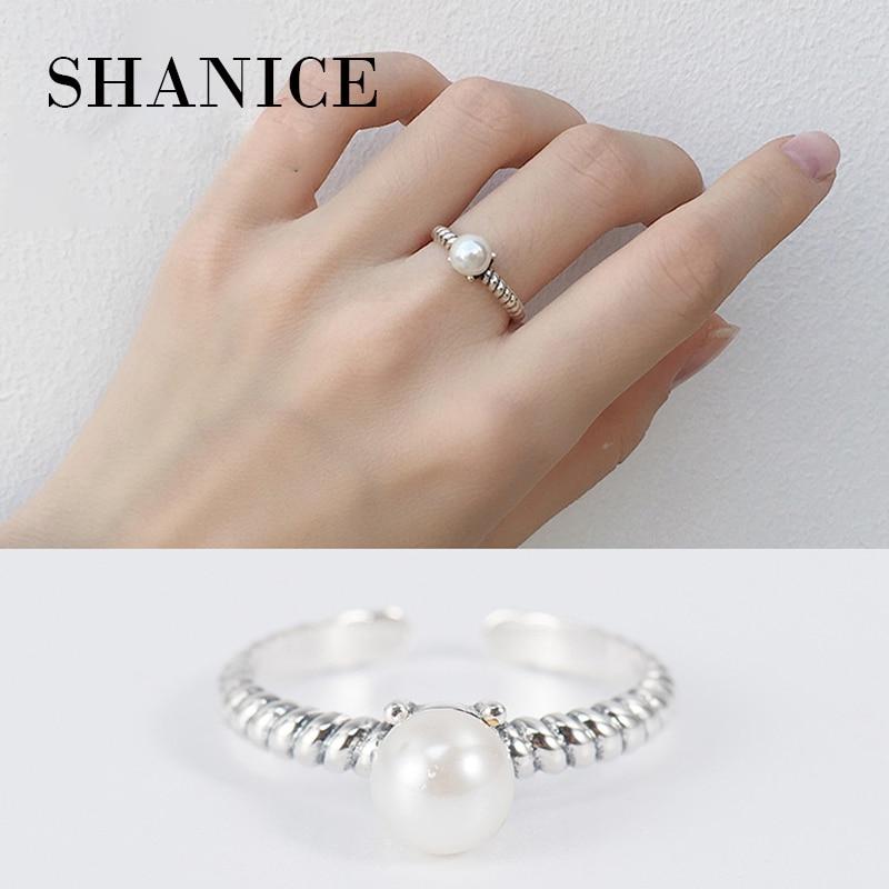 Шанис Аутентичные 100% 925 пробы серебряный плетеный Rop пресноводный жемчуг кольца для Для женщин Свадебные украшения регулируемые Открытые К