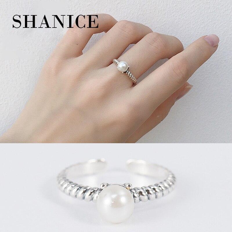 SHANICE Аутентичные 100% стерлингового серебра 925 плетеные Rop пресной воды жемчужные кольца для женщин Свадебные ювелирные изделия Регулируемые