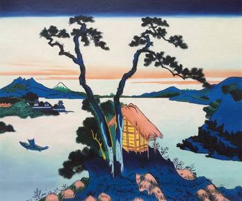 Handmade Japanese Landscape Wall Painting Art Picture for Living Room Decor Lake Suwa in the Shinano Province Katsushika Hokusai