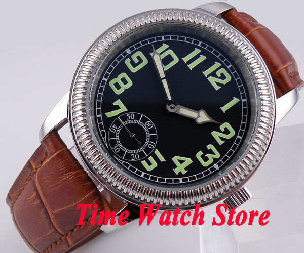 Parnis 44mm black dial green marks brown leather strap 6498 mechanical hand winding movement Men's watch 152 цена и фото