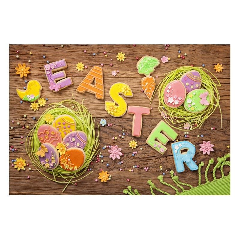 Happy Easter Vinyl Photography Background Cartoon Letter Wooden Floor Backdrops Custom Eggs For Children photo studio Props