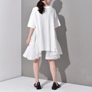 Image 5 - [EAM] 2020 חדש אביב קיץ צוואר עגול חצי שרוול קפלים פיצול משותף Loose Oversize גדול גודל שמלת נשים אופנה גאות JS7910