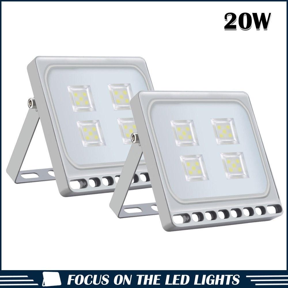 2pcs Ultraslim 20W LED Floodlight Outdoor Security Lights 110V 220V Cool white Waterproof IP65 in Floodlights from Lights Lighting