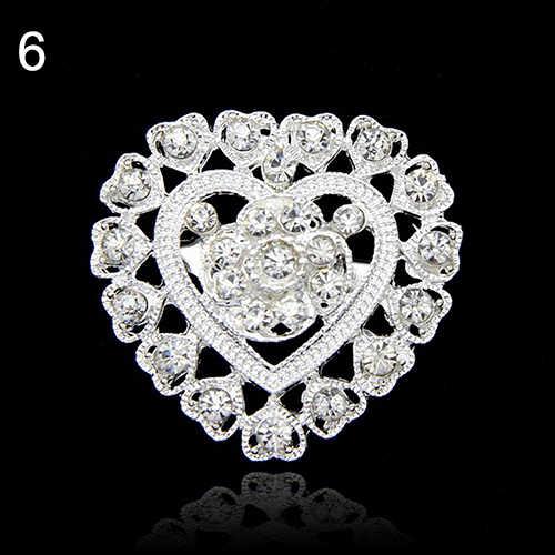 Baru Fashion Bunga Hati Berlian Imitasi Berlapis Perak Bros Pin Pernikahan Bridal Broach Breastpin Bride Pernikahan Perhiasan 73T8