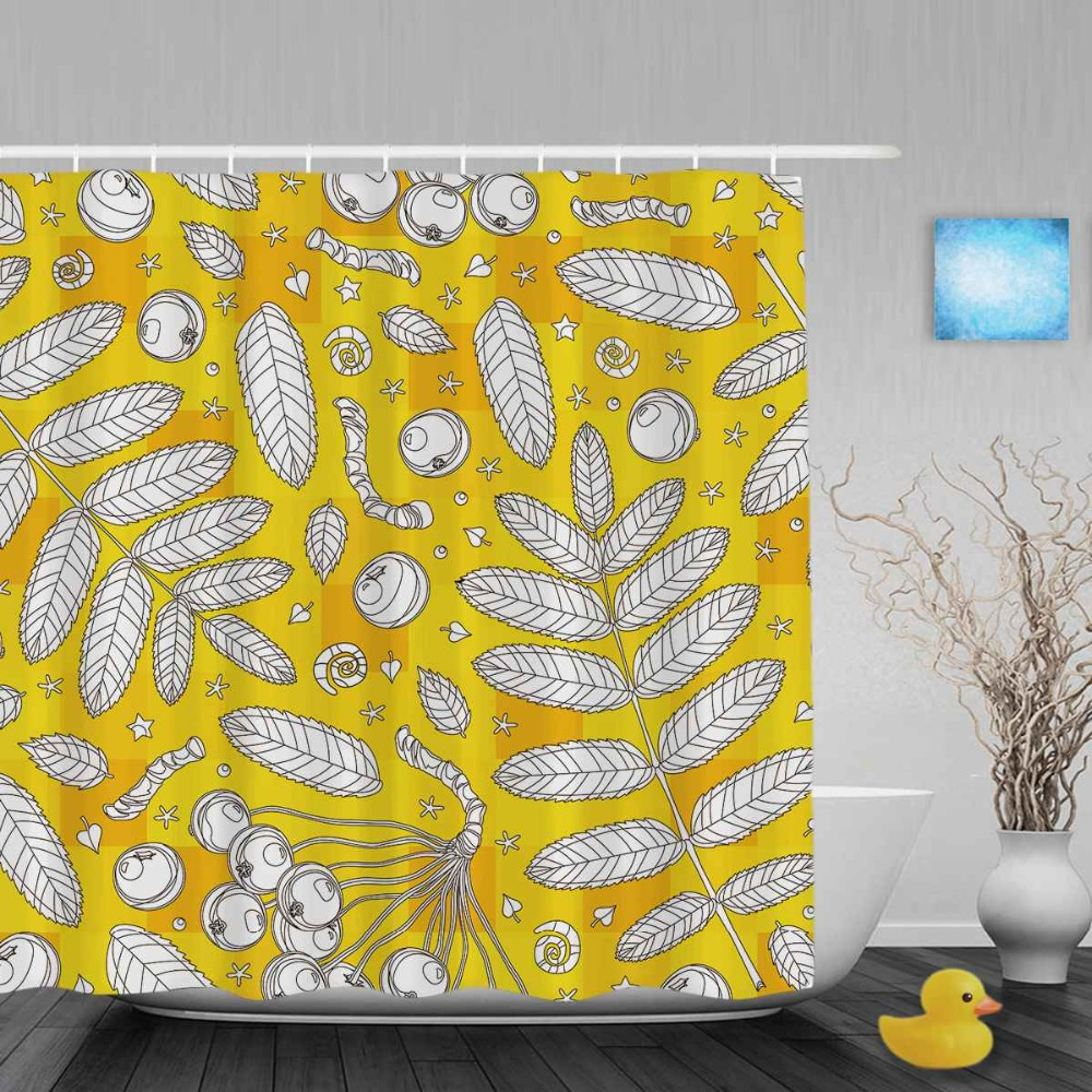 Bright Yellow Star Leaves Decor Bathroom Shower Curetain Sketch Style Curtains Waterproof Polyester Fabric With Hooks In From Home