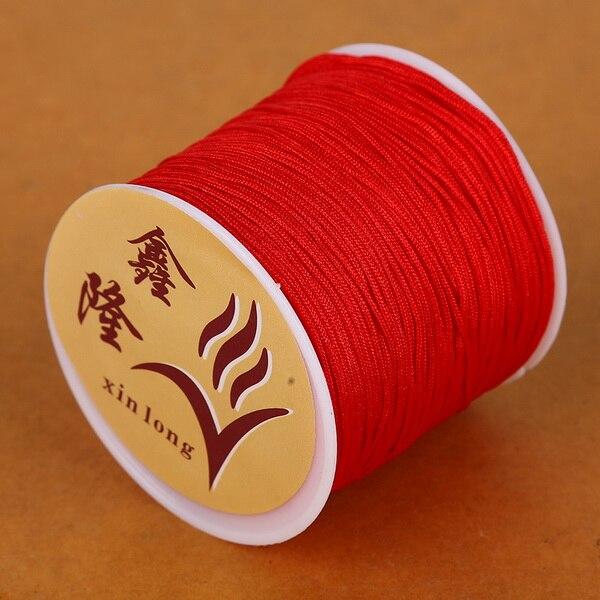 50 метров 0,8 мм нейлоновый шнур, китайский Узелок, шнур макраме, браслет, плетеный шнур, бисероплетение, сделай сам, ювелирный шнур, нить - Цвет: Red