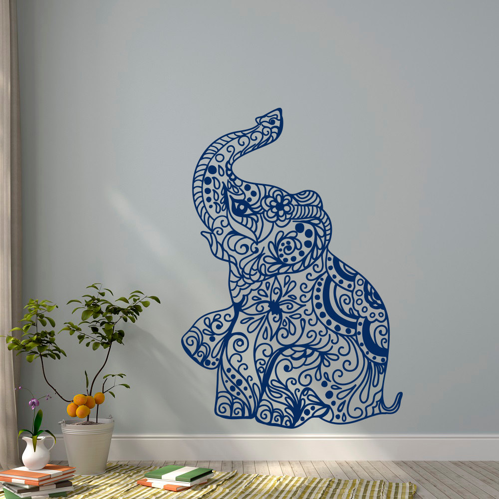 Elephant yoga wall decals indie wall art bedroom dorm nursery boho bohemian bedding decor interior design wallpaper mural jw044 in wall stickers from home