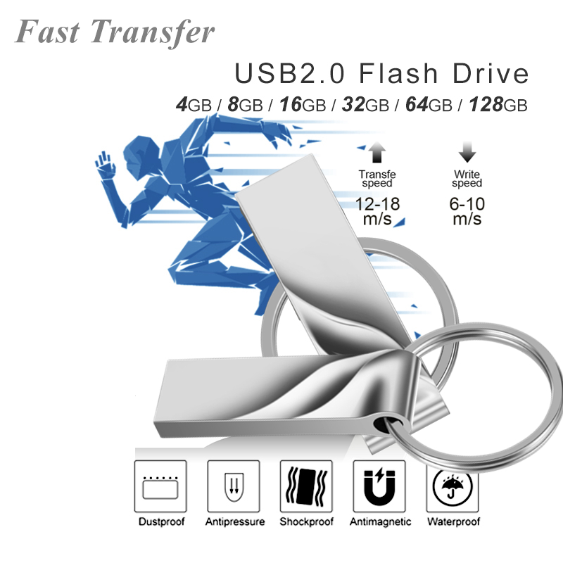 Image 4 - USB Flash Drives 128 gb mini usb flash metal pen key disk logo pendrive stick flash memory card 32GB/8GB/4GB/16GB/128GB-in USB Flash Drives from Computer & Office