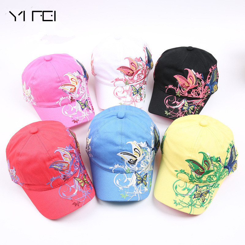 Baseball     Caps   2018 New High Quality Butterflies And Flowers Embroidery Summer And Fall   Caps   Fashion Girls   Baseball   Hat