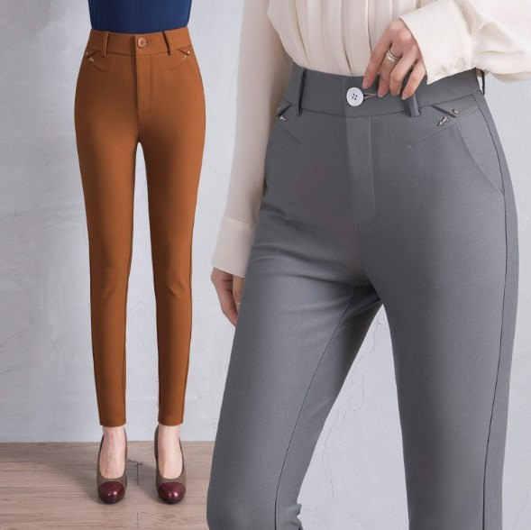 OL Style Black White Gray Brown Stretch Office Formal Pants for Women High Waist Pants Work Wear Trouser Plus Size 4XL 5XL 6XL