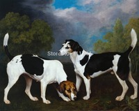 Pinturas A óleo cães Um Par de cães de Caça por George Stubbs pintados à Mão Da Arte Da Lona de Alta qualidade
